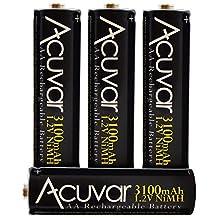4 High Capacity AA Rechargeable Batteries 3100mAh NiMH f/ Nikon L840, L32, L28, L30, L120, L620, L810, L820, L830, S6800, S8200 &More + Microfiber Cloth