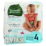 Seventh Generation Baby Diapers, Free-and-Clear for Sensitive Skin, Original Unprinted, Size 4, 27 Count