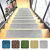 "carpet for stairs Designer Indoor Stair Mats, Ultra-Thin Microfiber Stair Carpet with Slip-Resistant Rubber Backing to Reduce Slipping Risk - Quick and Easy to Install- Premium Quality (9""x26"", Gray, Set of 7)"