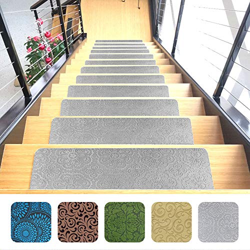 "Designer Indoor Stair Mats, Ultra-Thin Microfiber Stair Carpet with Slip-Resistant Rubber Backing to Reduce Slipping Risk - Quick and Easy to Install- Premium Quality (9""x26"", Gray, Set of 7)"