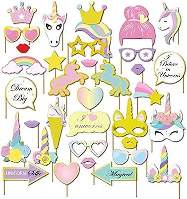 Unicornio DIY Photo Booth Props Cumpleaños cabina de fotos accesorios Photocall máscaras Gafas en Palos para Niños niñas Regalo unicornio decoraciones ...