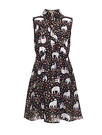 LaVieLente Customized Sleeveless Shirt Sloth Dress Fox Dress Dog Dress Stretchable Waist Design (Multicoloured, X-Small/Small)