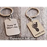Personalized Keychain Baby Footprint Handprint New Dad Gift