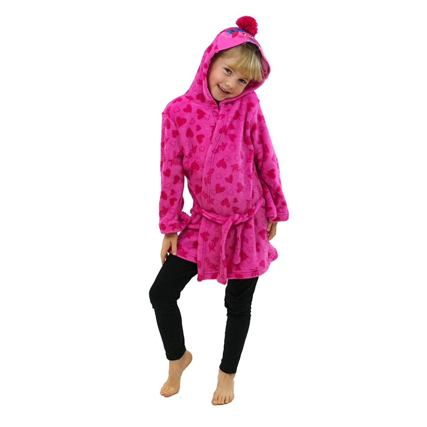 Trolls The Movie Kids Poppy Hooded Fleece Bathrobe Dressing Gown