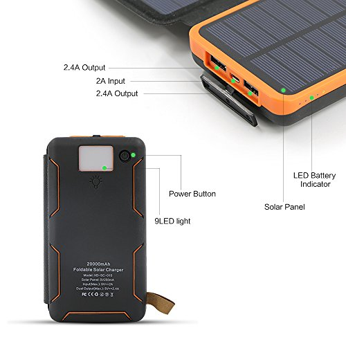 Solar Charger X Dragon 20000mAh potential Bank along with 4 Solar Panels 2 USB LED Flashlight Waterproof mobile or portable External Battery Backup for iPhone Cell cellular phones ipad Tablet and a great dea Orange Solar Chargers