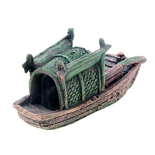 Image of Saim Aquarium Ornaments Resin Canoe Boat Landscape FIsh Tank Decoration Small