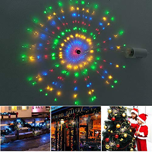Hanging Starburst Lights, 320 LEDs 8 Modes Dimmable Battery Operated Fairy String Lights, Remote Control Copper Starry Lights for Christmas, Patio, Indoor Outdoor DIY Decoration (Multi Color)