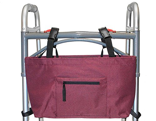 - RMS Walker Bag with Soft Cooler | Water Resistant Tote with Temperature Controlled Thermal Compartment | Universal Fit for Walkers, Scooters or Rollator Walkers (Wine)