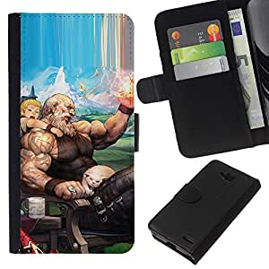 KingStore / Leather Etui en cuir / LG OPTIMUS L90 / Arte Zeus Olimpo Dios dibujos animados del gato Dibujo