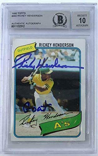 Rickey Henderson GOAT Signed 1980 Topps Rookie Baseball Card #482 Graded 10 auto - Baseball Slabbed Autographed Cards
