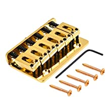 Kmise Gold 6 String Saddle Fixed Type Bridge For Fender Strat Electric Guitar Parts 73mm With Screws Wrench