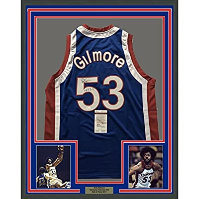 "Framed Autographed/Signed Artis Gilmore ""HOF 11"" 33x42 Kentucky Colonels Blue Basketball Jersey JSA COA"