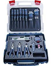 Bosch Professional 1600A016BW Kit di Attrezzi Professionali, Cacciaviti, Pinze, Metro a Nastro, Livella a Bolla, Cutter e Altri 19 Pezzi, in Valigetta L-Case, 25 cm