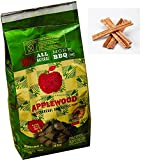 Charcoal briquette oak wood with applewood splinter Includes free natural fire starter sticks (Ocote) (4 pack 26.4 lb. total)