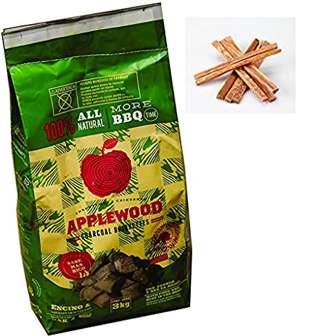 Charcoal briquette oak wood with applewood splinter Includes free natural fire starter sticks (Ocote) (2 pack 13.2 lb total) Applewood Chihuahua SA de CV