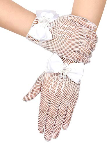 Chuangdi Flower Girl Gloves Short Princess Gloves Bow Tie Gloves Women Faux Pearl Gloves for Wedding Party First Communion (Lace Type, White)