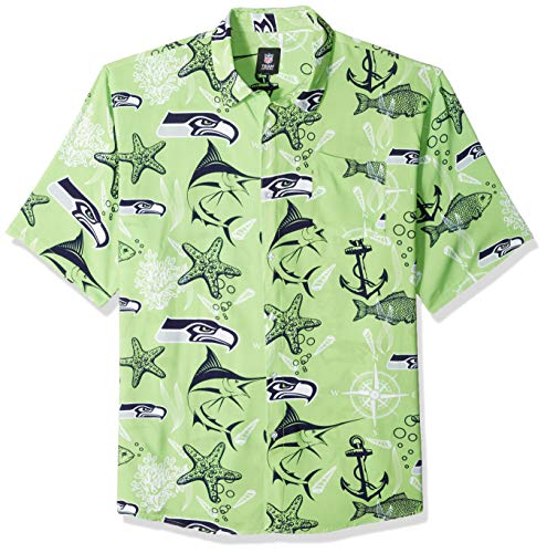 (NFL Seattle Seahawks Mens Floral Tropical Button Up Shirt, Team Color, XXL)