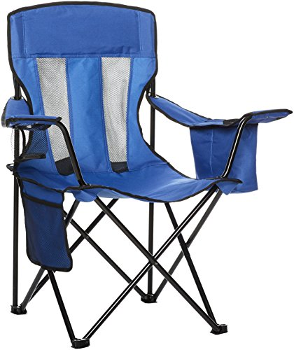 AmazonBasics Camping Chair with Cooler, Blue - Folding Chair Lawn
