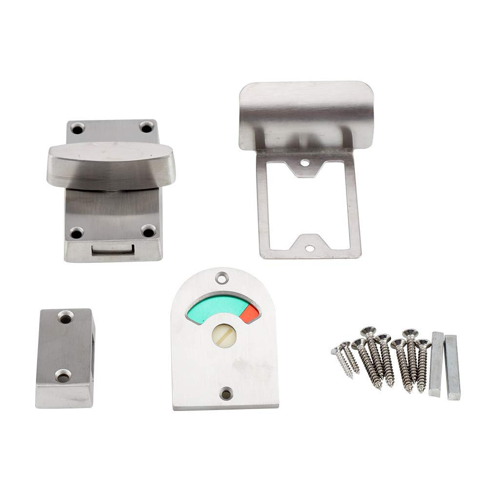 Latch Indicating Lock, Stainless Steel Bathroom Toilet Privacy Partition Bolt Door Lock Indicator with Vacant Engaged Indicating and Screws Fittings Haofy