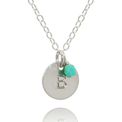 3512de6901bd Amazon.com  EFYTAL Sterling Silver Initial Necklace with Birth Month Charm