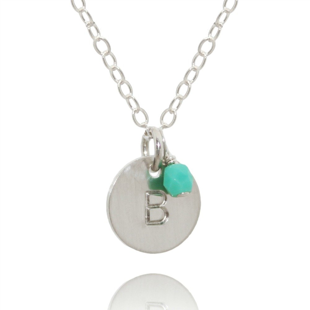 Efy Tal Jewelry Sterling Silver Initial Necklace with Birth Month Charm, Tiny Dainty Personalized Letter Disc, small