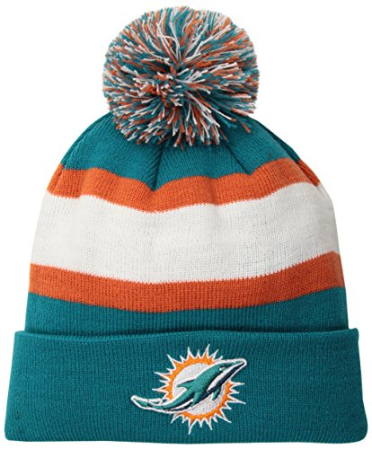 NFL Miami Dolphins Rush Down OTS Cuff Knit Cap with Pom, Neptune, One Size