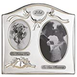 Lawrence Frames Satin Silver and Brass Plated 2 Opening Picture Frame, 25th Anniversary Design