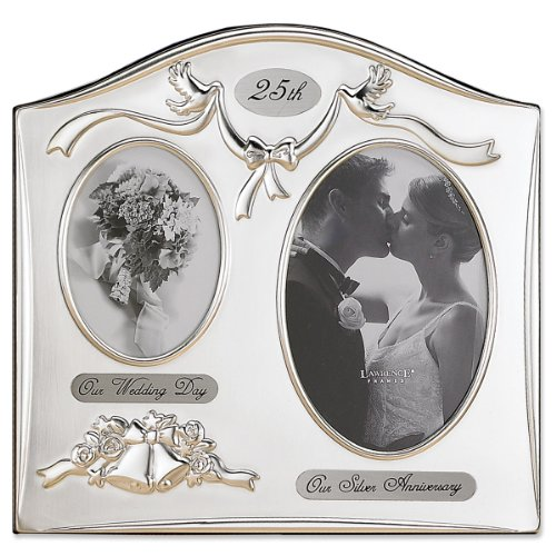 Lawrence Frames Satin Silver and Brass Plated 2 Opening Picture Frame, 25th Anniversary Design ()