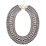 Jane Stone Statement Turquoise Collar Necklace Multi-layered Fashion Chunky Long Beads Beaded Jewelry for Women