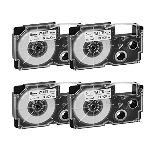 Compatible Label Tape Replacement for Casio XR-9WE2S XR-9WE Label Cartridges Compatible for Casio KL-120 KL-60 KL-100 KL-750 KL-780 KL-7000 KL-7200 EZ Label Printer 9 mm x 8 m Black on White, 4-Pack