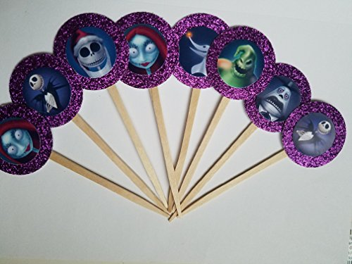 8 Purple All Characters Full Jack Skellington Cupcake Toppers Nightmare Before Christmas Halloween Birthday Party (Nightmare Before Christmas Birthday Supplies)