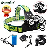 ZYooh Super Bright LED Headlamp, ZOOM Rehargeable 12000Lm Headlamp CREE XM-L ...