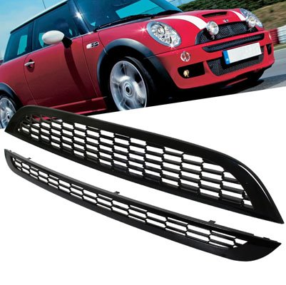 2002-2006 Mini Cooper Front Upper & Lower Mesh Grill Black