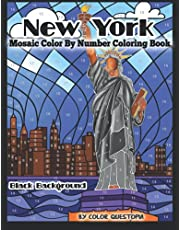 New York Mosaic Color by Number Coloring Book BLACK BACKGROUND: Beautiful NYC Landmarks and Architecture