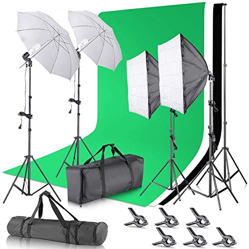 2.6M x 3M/8.5ft x 10ft Background Support System and 5500K Umbrellas Softbox Continuous Lighting Kit for Photo Studio Product,Portrait and Video Shoot ()