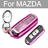 key mazda 2 - YIJINSHENG Chrome Silver TPU Car Key Fob Cover Case for Mazda 2 3 5 6 8 CX3 CX5 CX7 CX9 MX5 Smart Remote Key Protective Shell with Key Chain (Pink)