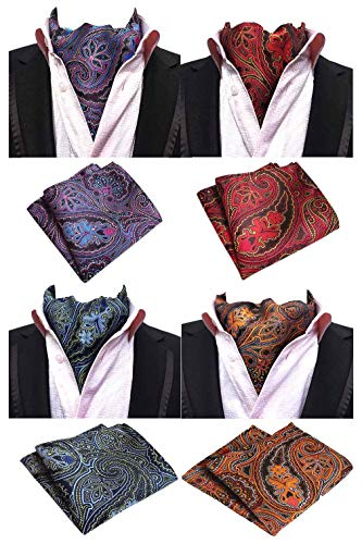 Tie Ascot - MOHSLEE Men's Exquisite 4 Pack Cravat Floral Ascot Scarf Tie & Pocket Square Set