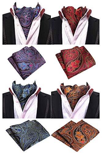 (MOHSLEE Men's Exquisite 4 Pack Cravat Floral Ascot Scarf Tie & Pocket Square Set)
