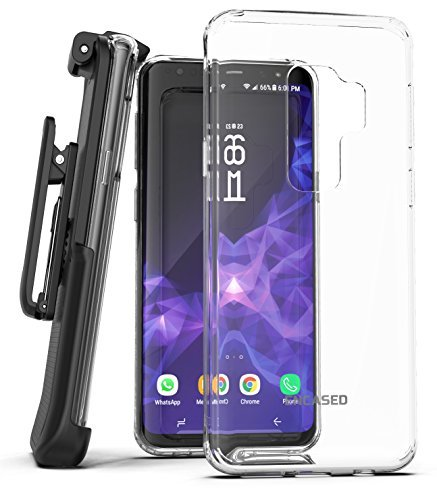 Encased Galaxy S9 Plus Belt Case, Clear Protective Grip Cover with Holster Clip for Samsung Galaxy S9+ (2018 Release) Crystal Clear (Clear)
