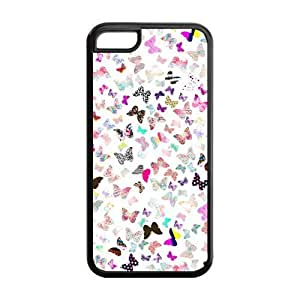 5C Phone Cases, Colorful Butterfly Hard TPU Rubber Cover Case for iPhone 5C
