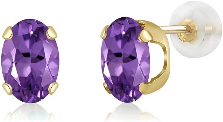 14K Yellow Gold Diamond /& Oval Amethyst February Stone Post Earrings