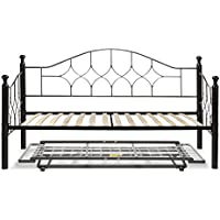 Bianca Complete Metal Daybed with Euro Top Deck and Trundle Bed Pop-Up Frame, Hammered Pewter Finish, Twin