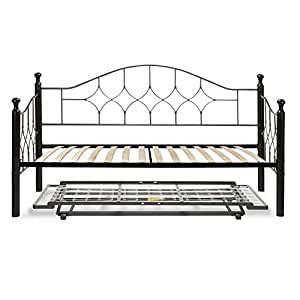 bianca complete metal daybed with euro top deck and trundle bed pop up frame. Black Bedroom Furniture Sets. Home Design Ideas