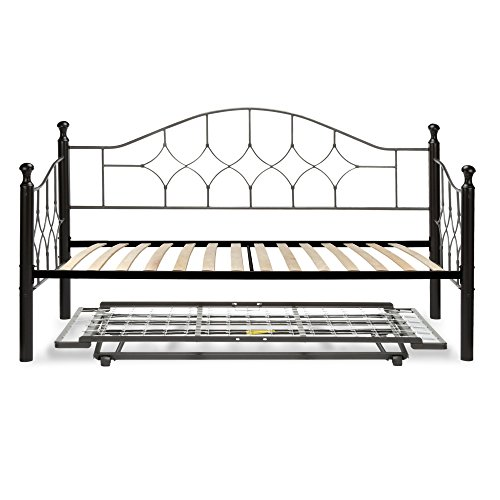 Fashion Bed Group Bianca Complete Metal Daybed with Euro Top Spring Support Frame and Pop-Up Trundle Bed, Hammered Pewter Finish, Twin