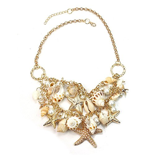 Hot Sweet Chunky Gold Tone Sea Shell Starfish Pearl Bib Statement Necklace -