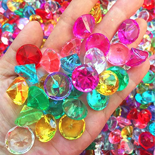 8MM Multi-Colored Acrylic Diamonds Pirate Treasure Jewels for Costume Stage Props/Party Decorations Supplies/Wedding Decorations and Vase Fillers-200 Pcs
