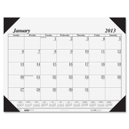 House of Doolittle Refillable 4-Corner Month Desk Pad Calendar Holder, January-December, 2013, 22