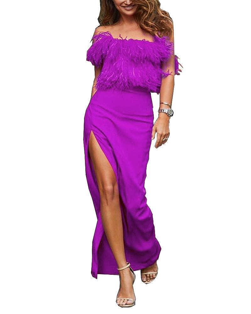 Purple MariRobe Women's High Split Evening Dresses Sleeveless Feather Formal Party Dress Prom Dress Cocktail Gown