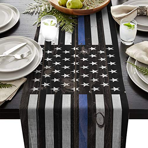 Linen Burlap Table Runner Dresser Scarves, Independence Day American Flag Blue Lines Kitchen Table Runners for Dinner Holiday Parties, Wedding, Events, Decor - 13 x 90 Inch