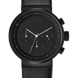 Projects 5160B Men's Kiura Chronograph Black Leather Band Black Dial Watch
